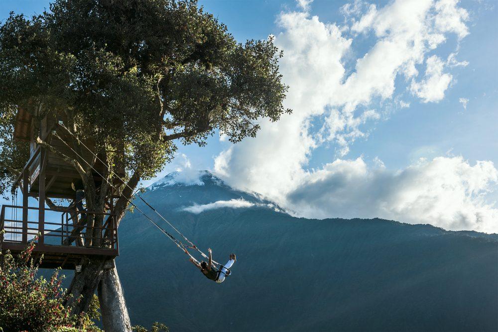 La balançoire du bout du monde à Baños en Équateur