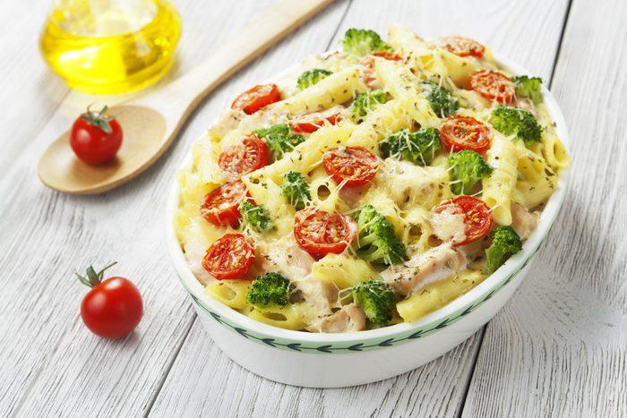 Une recette de gratin de pâtes végétarien.