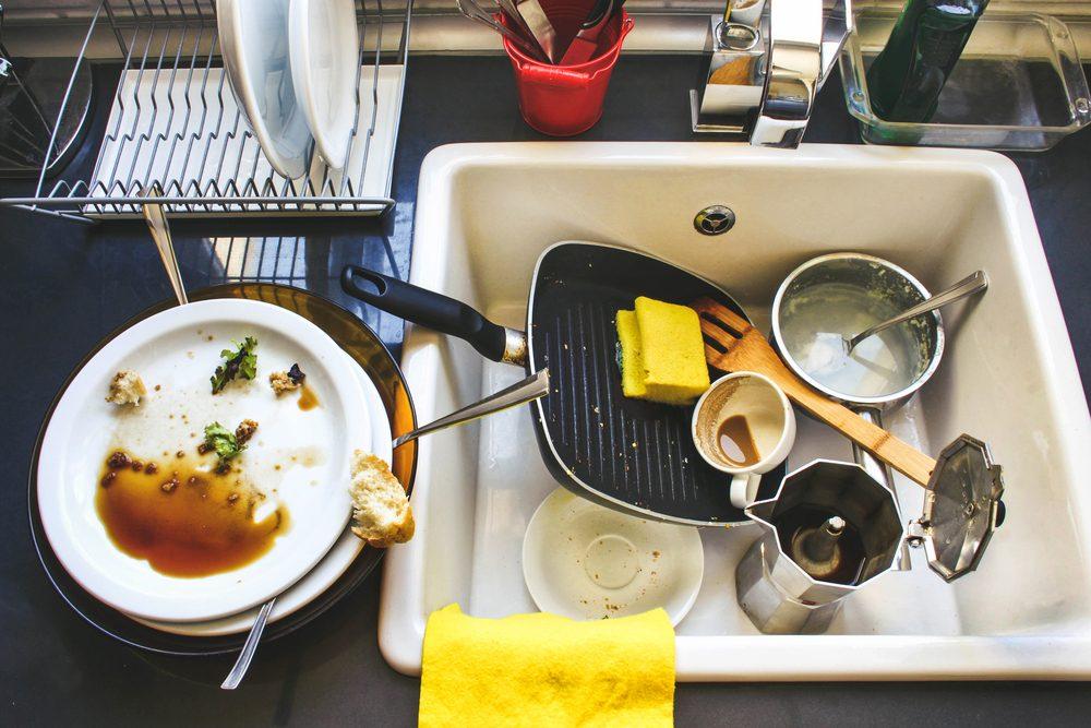 Conseil organisation: ne laissez pas traîner la vaisselle.