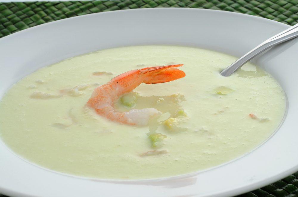 Une recette de potage concombres et crevettes