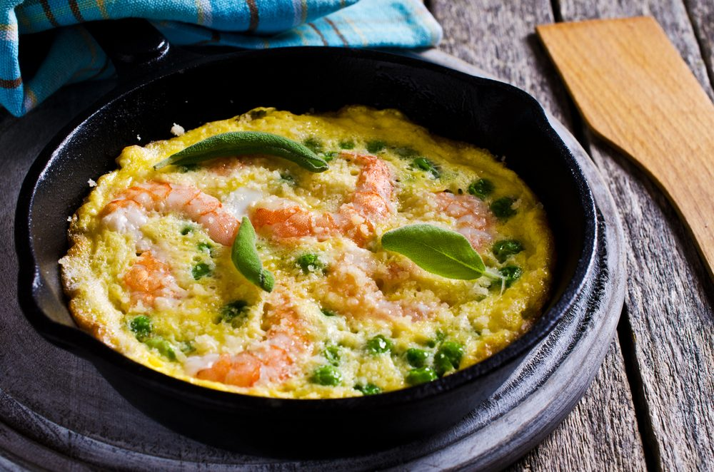 Une recette d'omelette aux crevettes.