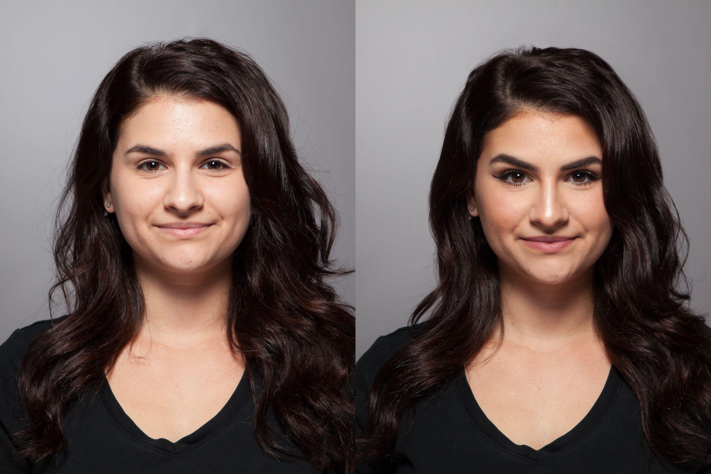 Trucs maquillage pour paraître plus mince: les résultats du tutoriel maquillage.