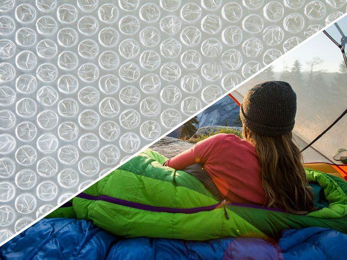 Transformer le papier bulle en oreiller.