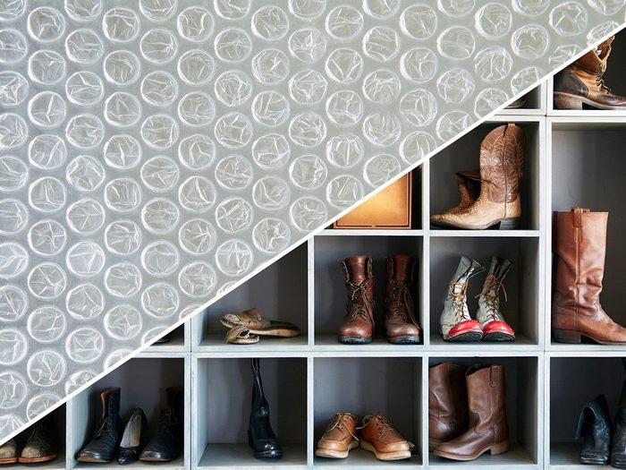 Prolonger la vie des chaussures avec du papier bulle.