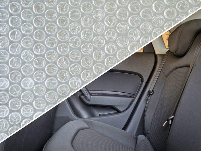 Prévenir la douleur lors des longs trajets en voiture avec du papier bulle.