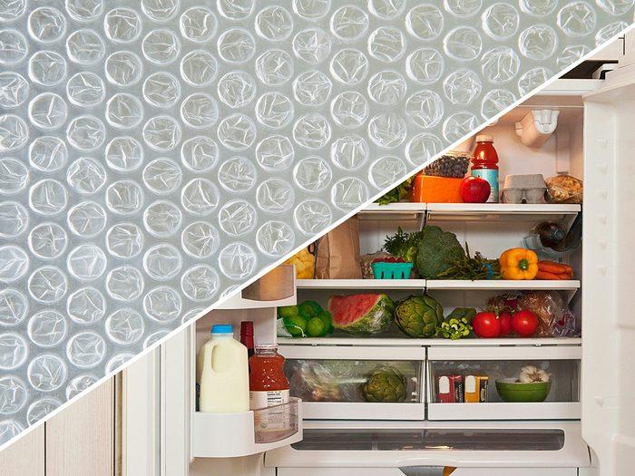 Garder le réfrigérateur propre avec du papier bulle.