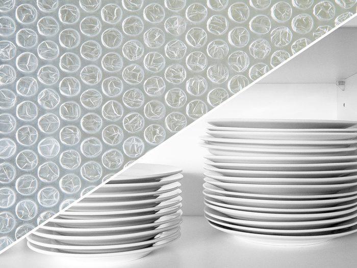 Éviter de rayer la vaisselle avec du papier bulle.
