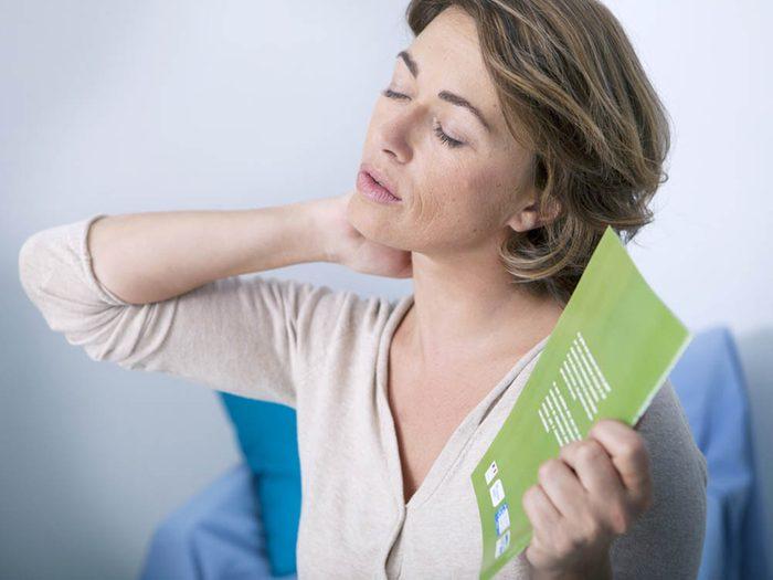 À l'approche de votre ménopause vous pourriez ressentir des bouffées de chaleur.
