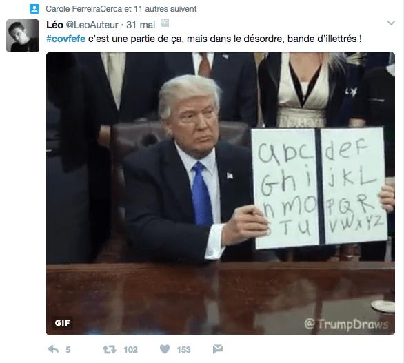 Meme sur Donald Trump et son tweet avec le mot covfefe