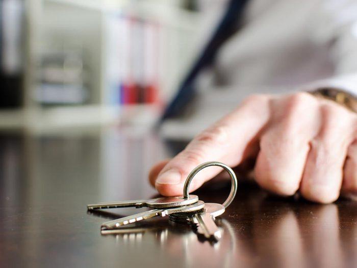 Source de stress: les clés.