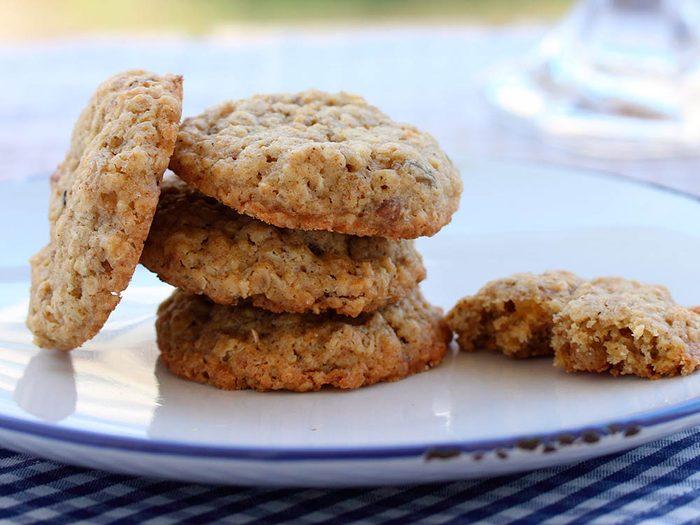 Collations santé: les biscuits à l'avoine.