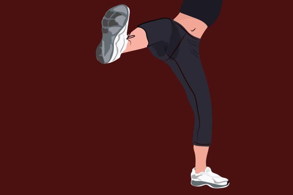 Autodéfense: frappez avec le côté du pied et non juste la pointe.