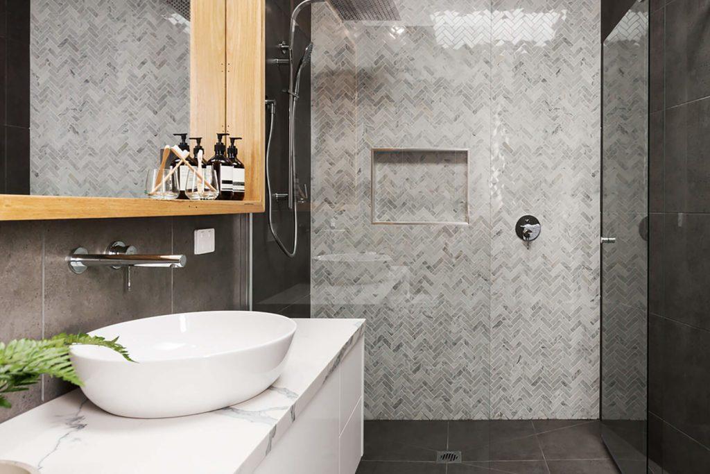 Salle de bain très moderne.