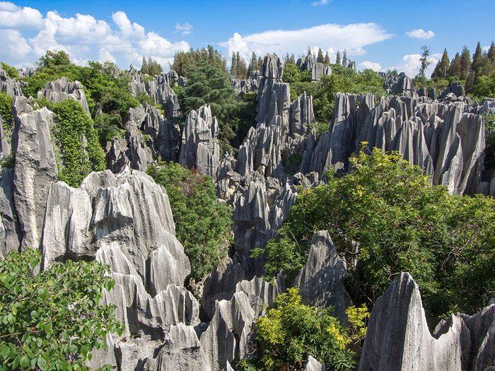 La forêt de pierres de Shilin en Chine est l'une des plus belles formations rocheuses naturelles à travers le monde.