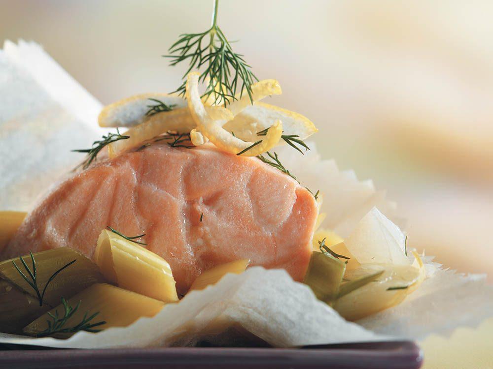 La bonne cuisine avec 3 fois rien: Papillotes de saumon aux poireaux.