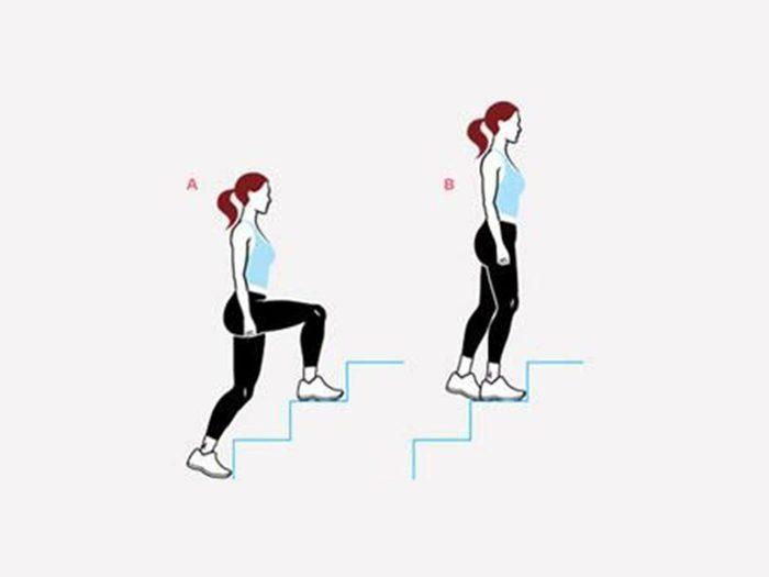 L'escalier (deux marches) pour raffermir.