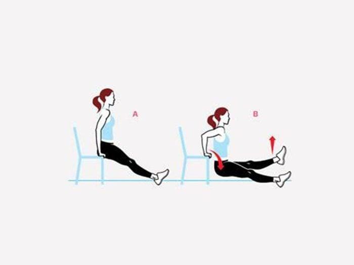 Mouvement un peu plus difficile: Dip avec une jambe levée pour raffermir.