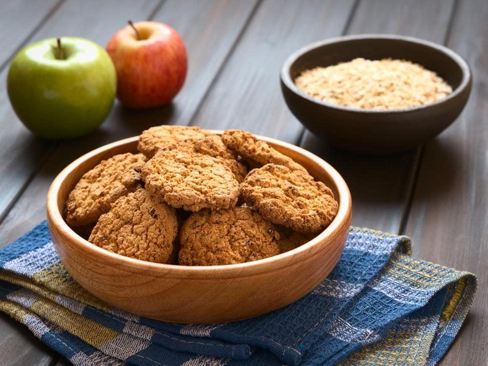 Recettes avec des pommes: biscuits croustillants au muesli.