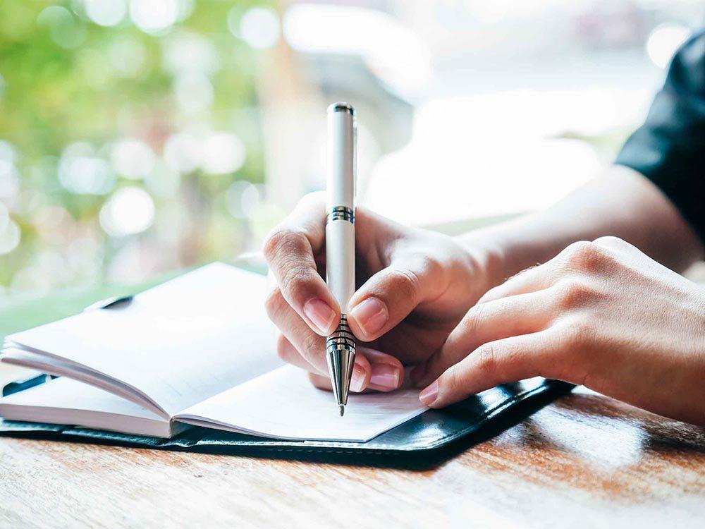 Pour un weekend-end réparateur, tenez un journal de vos activités.
