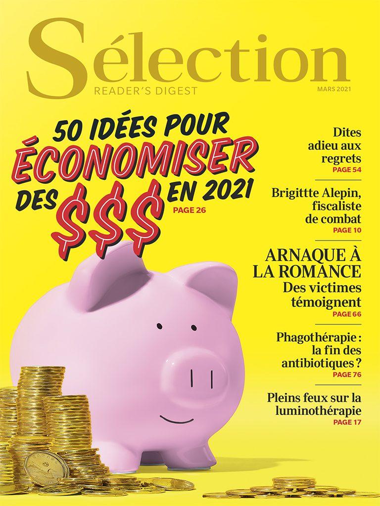 Couverture du magazine Sélection du Reader's Digest du mois de mars 2021.