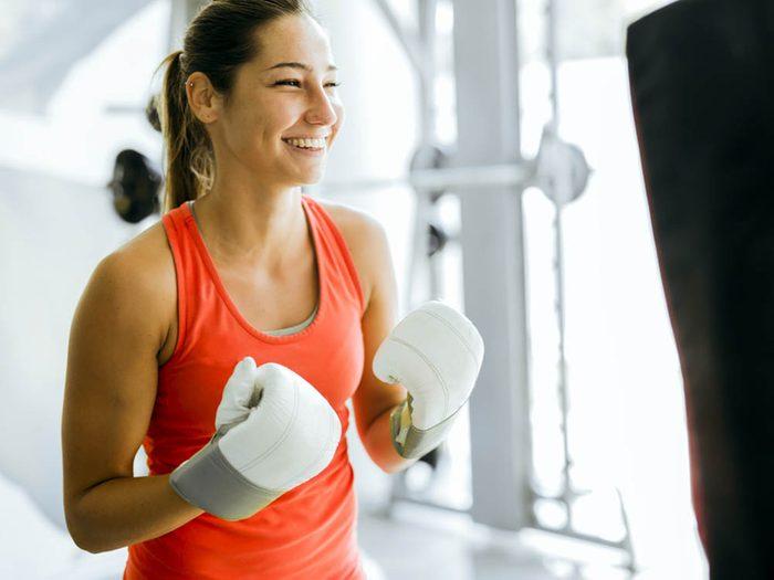 Taper dans quelque chose est un entraînement qui permet d'évacuer le stress.