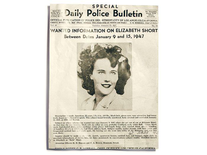 L'affaire du Dahlia noir fait partie des meurtres non élucidés à ce jour.