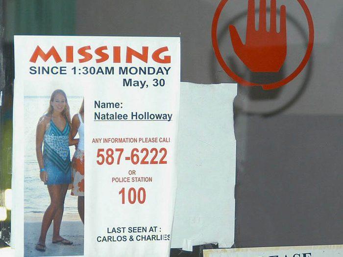 La disparition de la jeune Natalee Holloway est non élucidée encore aujourd'hui.