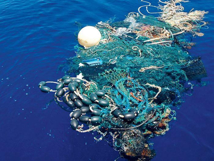 La pollution marine est en grande partie due au plastique.