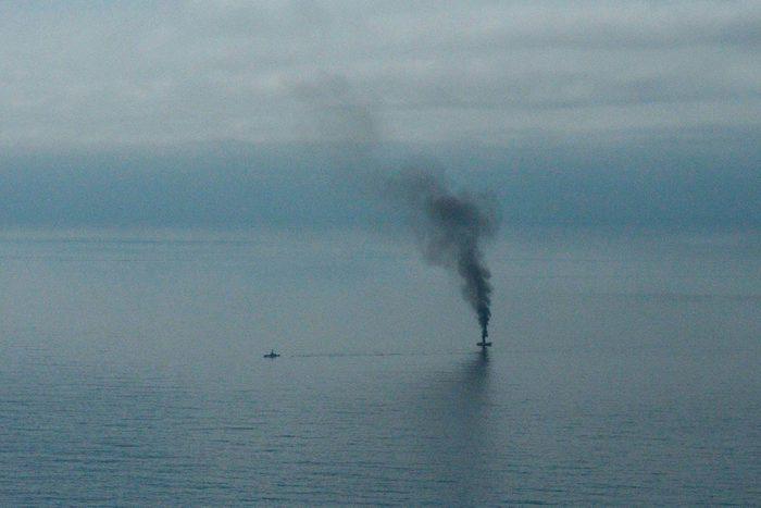 Chair de poule : photo d'un bateau coulé par la garde côtière américaine.