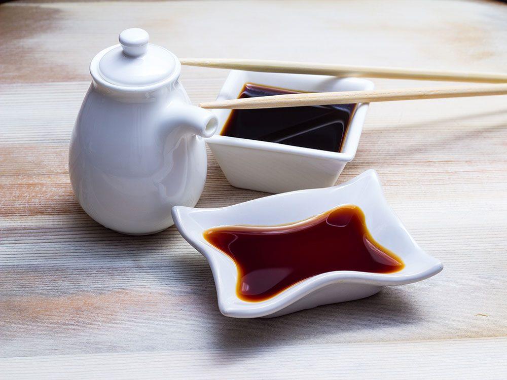 La sauce soya peut contenir du gluten.
