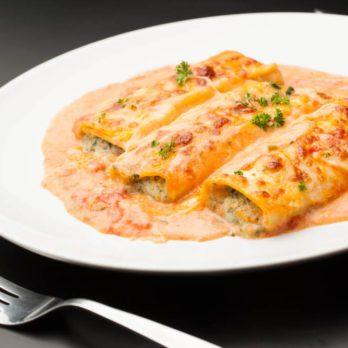 Cannelloni au veau, sauce rosée au cambert