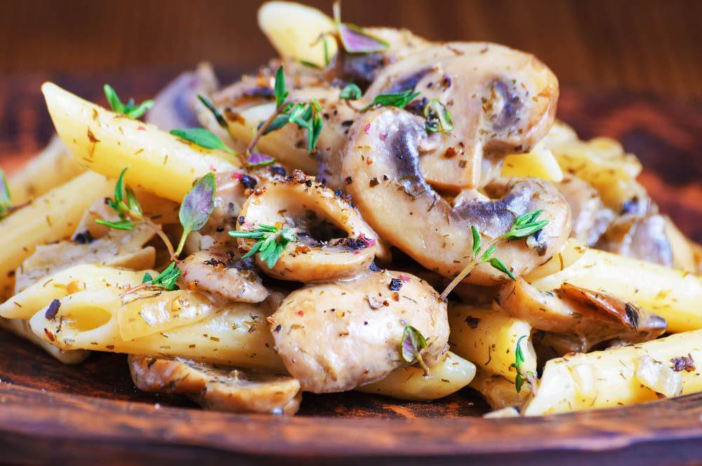 Meilleures recettes de pâtes : gemelli aux champignons portobello.