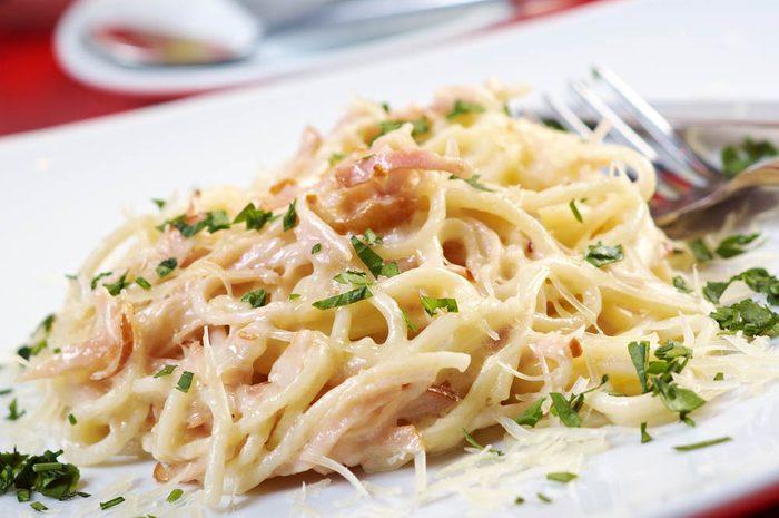 Meilleures recettes de pâtes : spaghetti Carbonara.