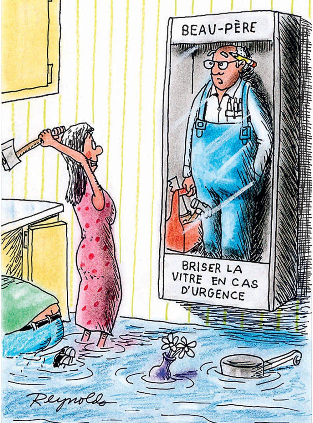 Blague : caricature de l'aide des beaux-pères.