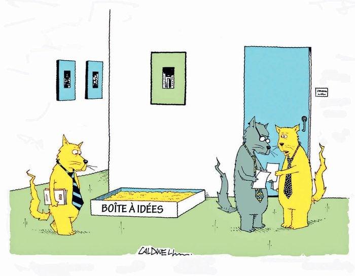 Blague : caricature des boîtes à idées.