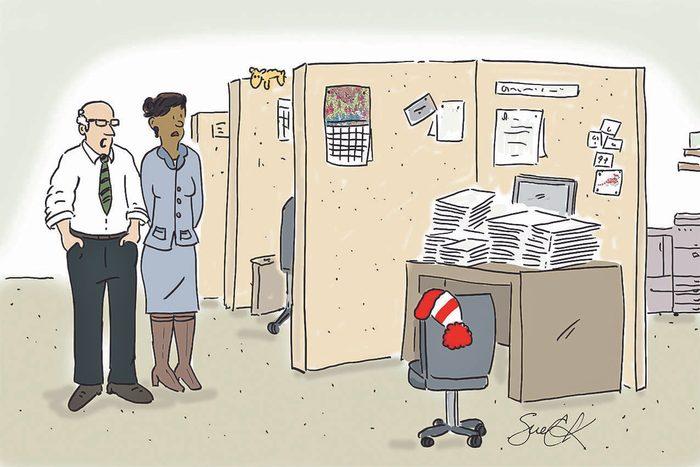 Blague : caricature de Charlie au travail.
