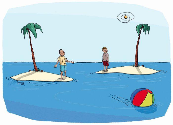 Blague : caricature de naufragés.
