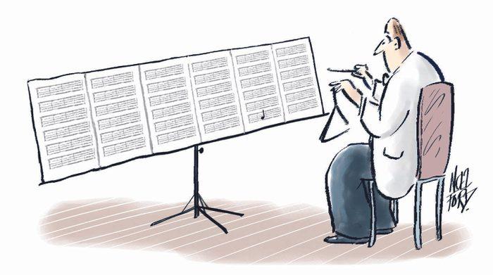 Blague : caricature d'un musicien.