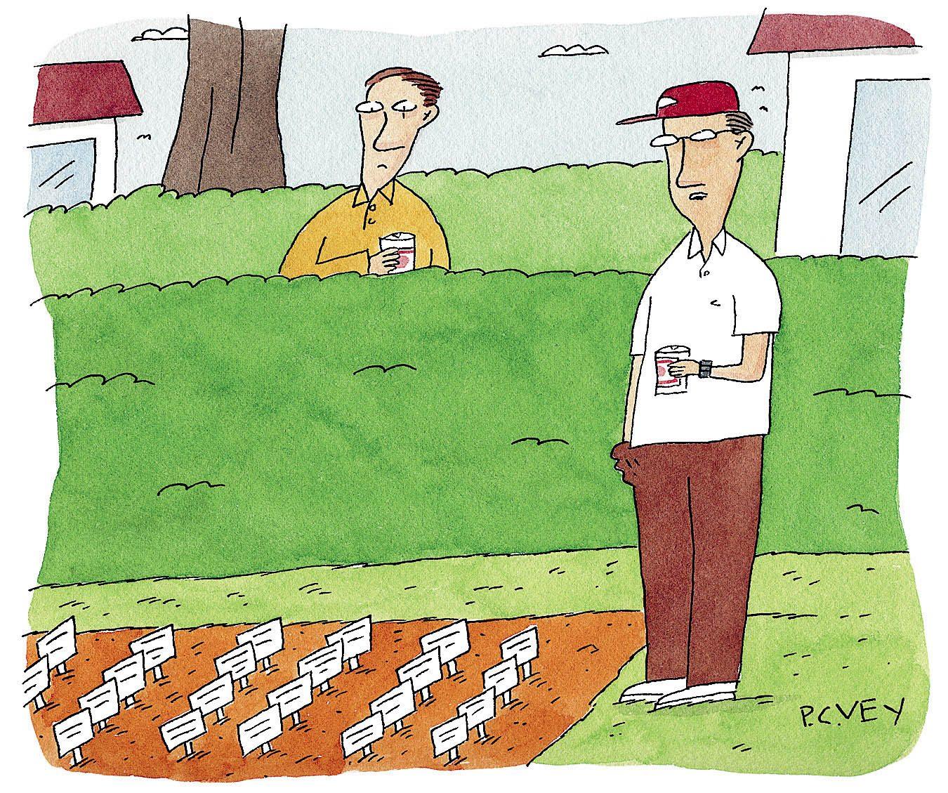 Blague : caricature du jardinage de printemps.