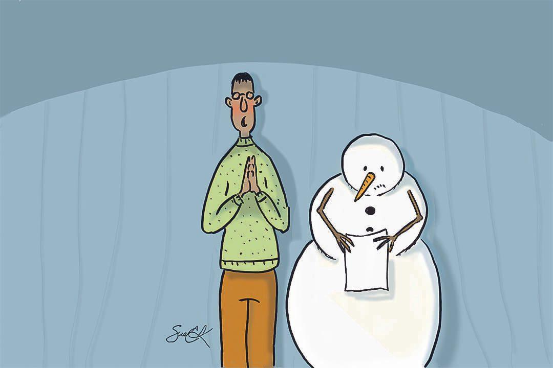 Blague : caricature des séminaire sur le réchauffement climatique.