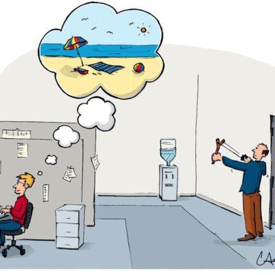 Blague : caricature de la rêverie au travail.
