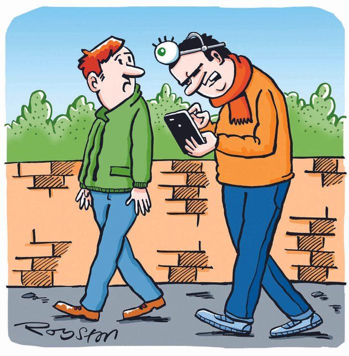 Blague : caricature de la technologie.