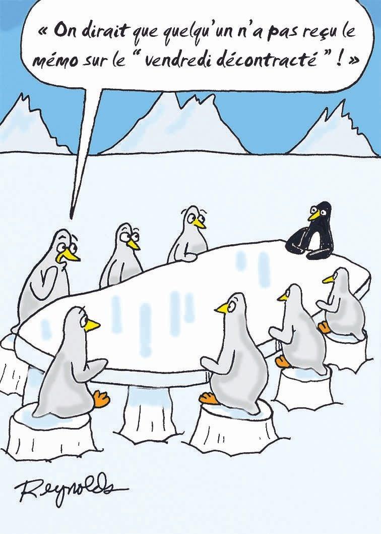 Blague : caricature du vendredi décontracté