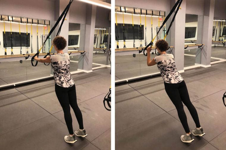 Exercices TRX : extension des triceps.