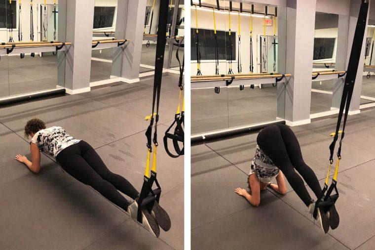 Exercices TRX : planche vers position carpée