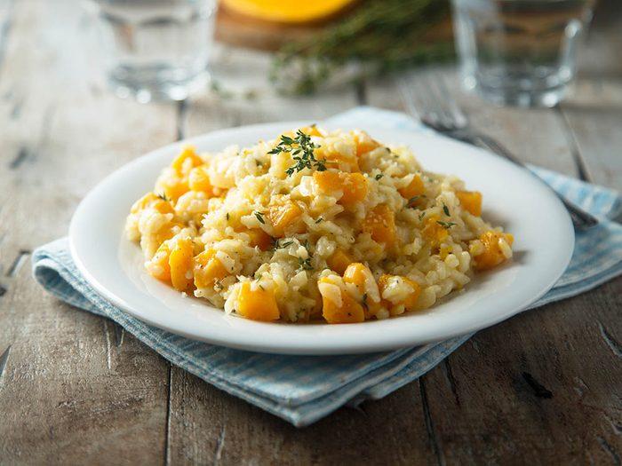 Recette de kale : Un riz basmati, chou frisé et courge butternut.