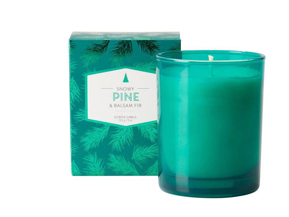 Cadeau de noël : la chandelle Snowy Pine and Balsam Fir