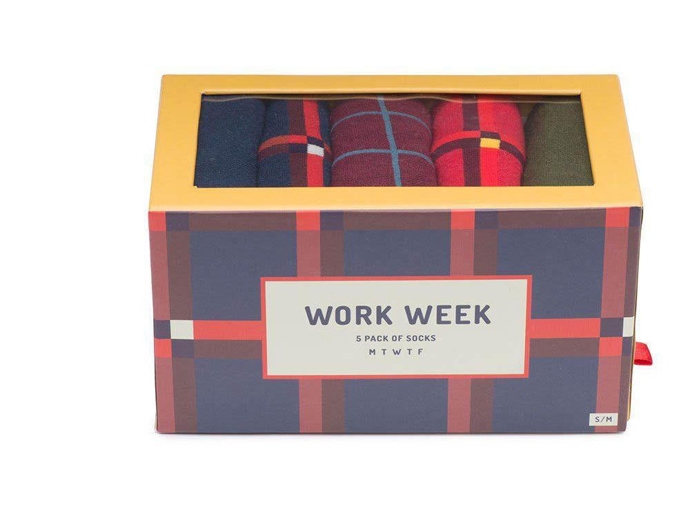 Cadeau de noël : le paquet de 5 chaussettes Work Week