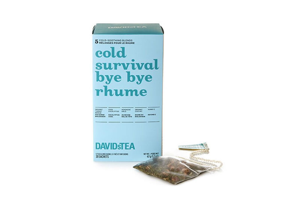 Idée cadeau: une boîte de thés assortis en sachets bye bye rhume.