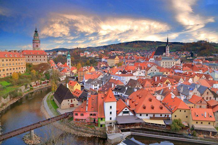 Destination de voyage : Český Krumlov en République tchèque.